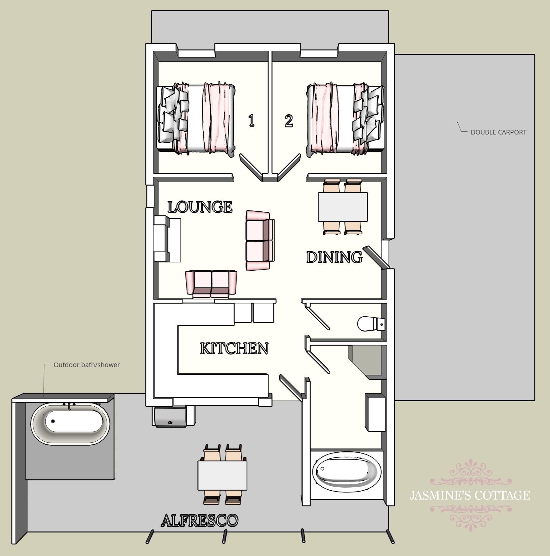 3D Jasmine's Cottage Floor plan